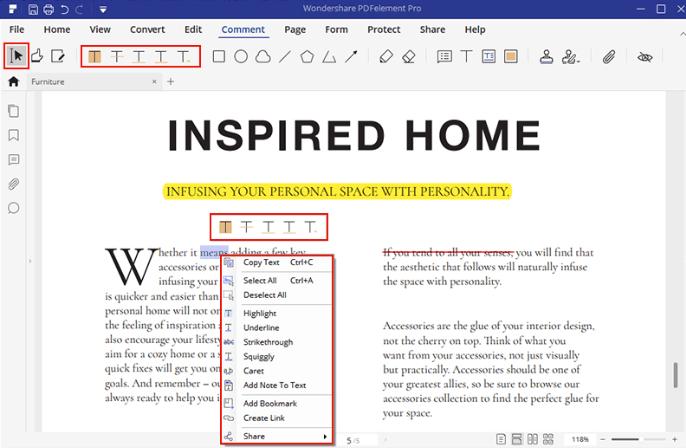 PDFelement PDF에 주석 달기