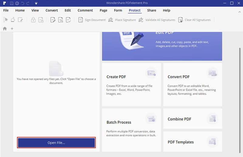 PDFelement Pro Apri file