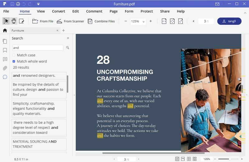 Resultado de PDF de búsqueda de PDFelement Pro