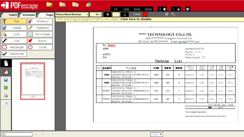PDFescape Texto PDF