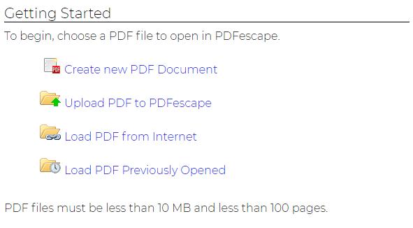 PDFescape Upload PDF File