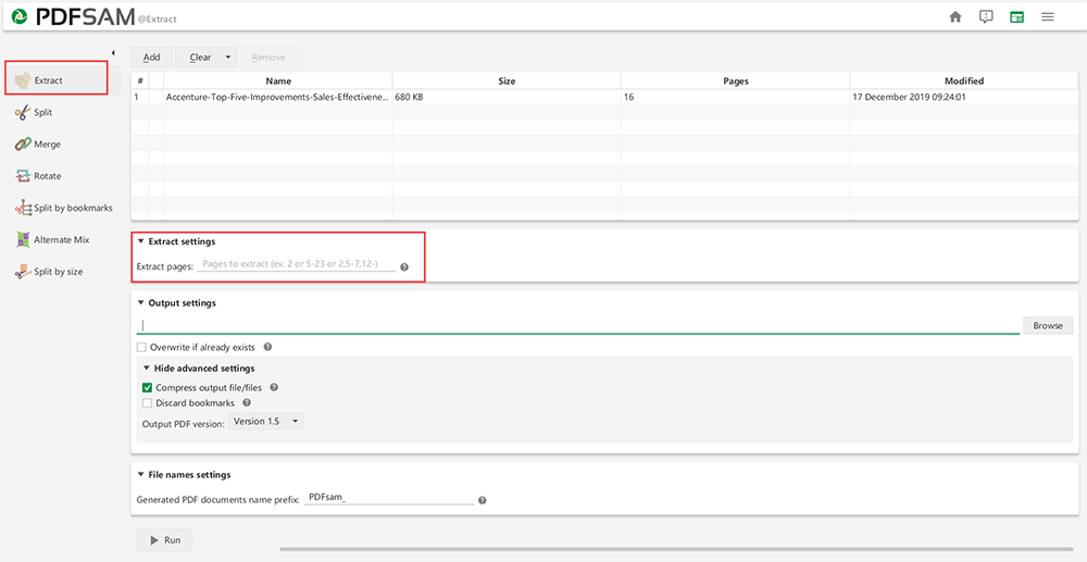 PDFsam Basic 추출 설정