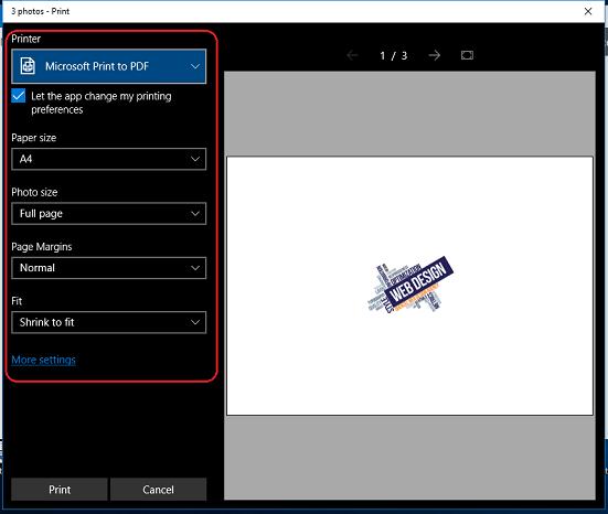 Photos Save in PDF Windows