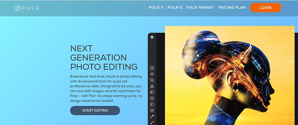 Página de inicio de Pixlr