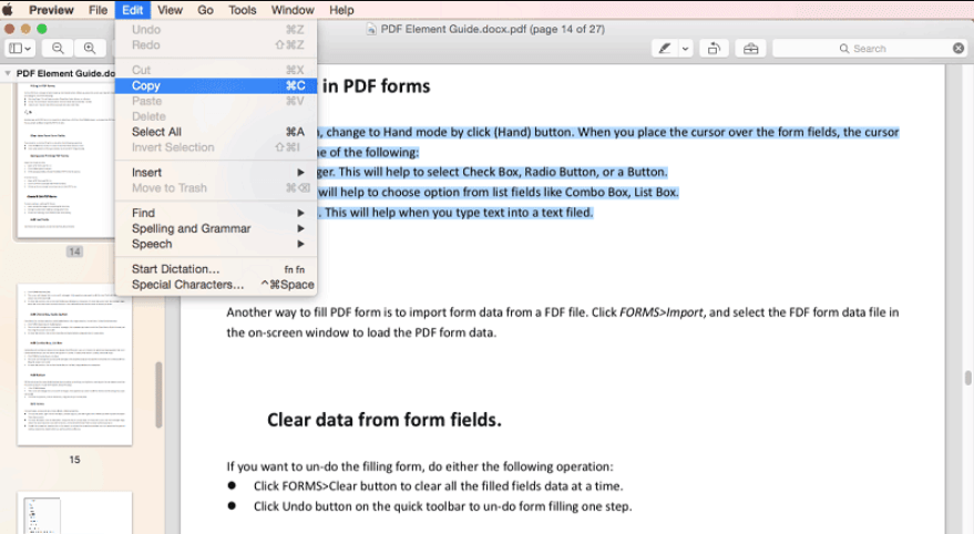 Preview Copy Text from PDF