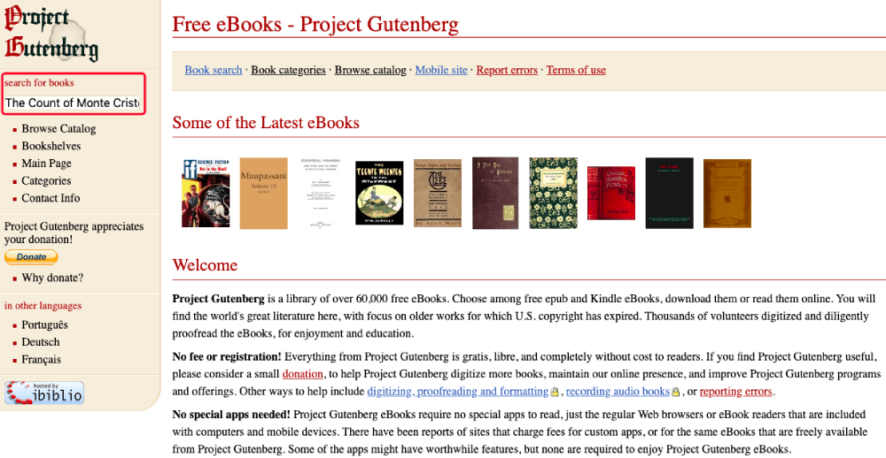 Project Gutenberg Search