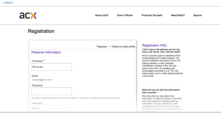 Register ACX Account