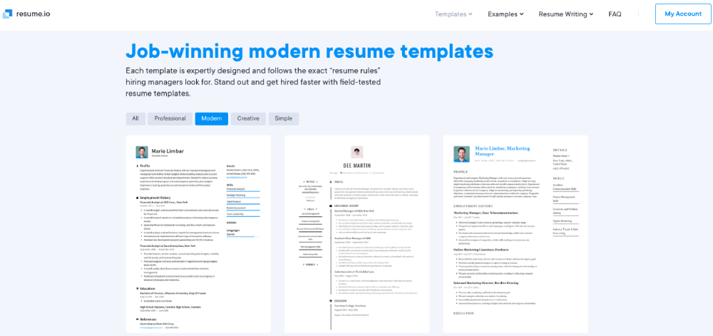 Resume.io Word Resume Templates