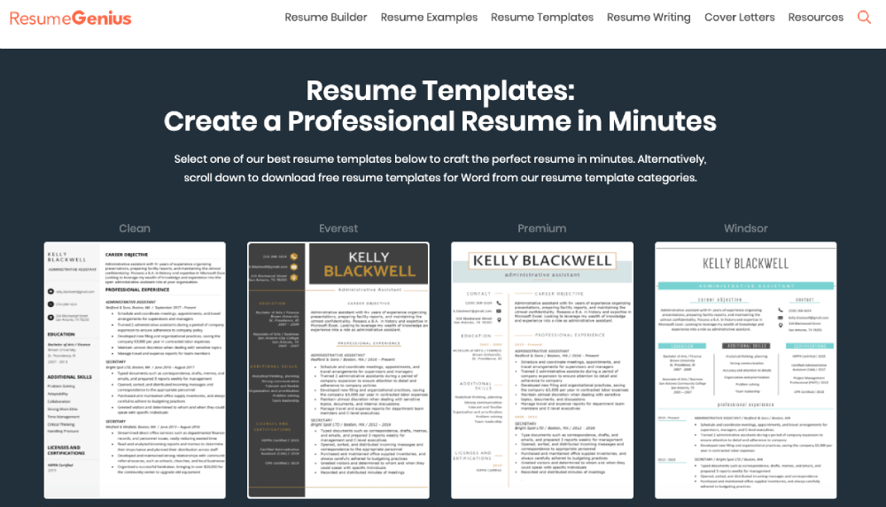 Resume Templates Resume Genius