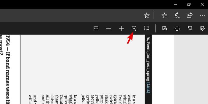 Rotate PDF in Microsoft Edge