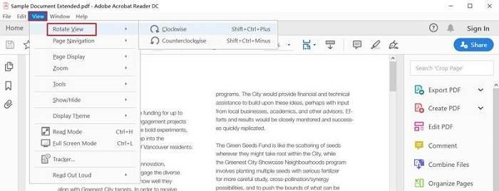 Rotate PDF Temporarily in Adobe Reader