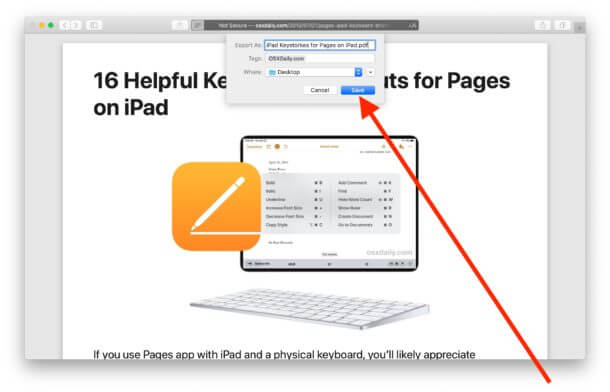 Safari Export Webpage As PDF Save