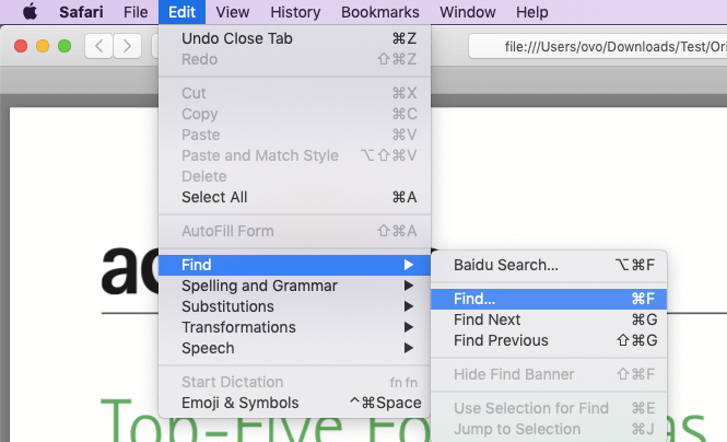 Safari Search in PDF