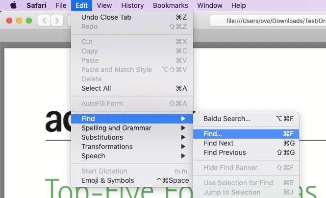 Safari Suche in PDF