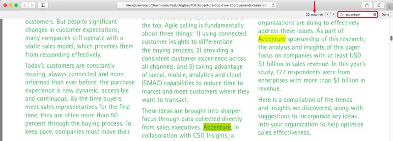 Búsqueda de Safari en coincidencias de PDF
