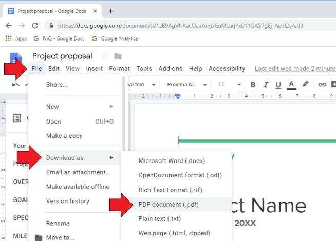 Save As PDF Google Docs