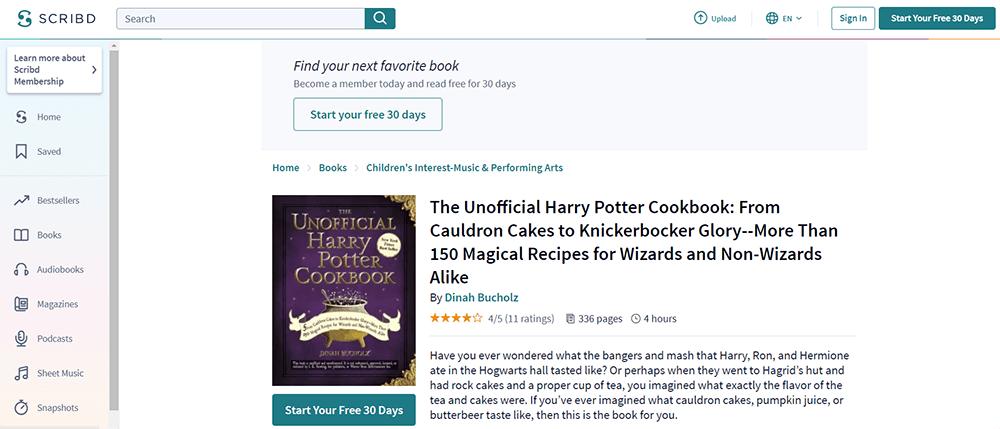 SCRIBD Das inoffizielle Harry-Potter-Kochbuch