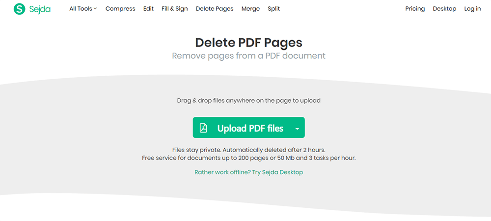 Sejda Eliminar Pages PDF