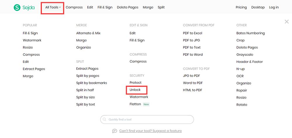 Sejda Homepage All PDF Tools Unlock PDF