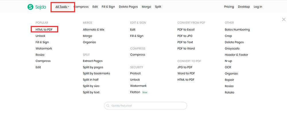 Página de inicio de Sejda Todas las herramientas HTML a PDF