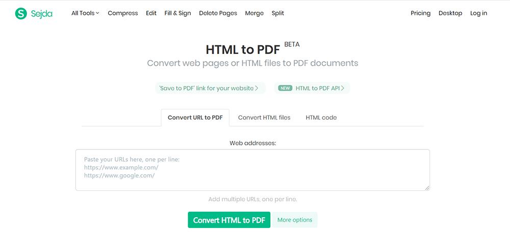 Sejda HTML a PDF Subir archivo