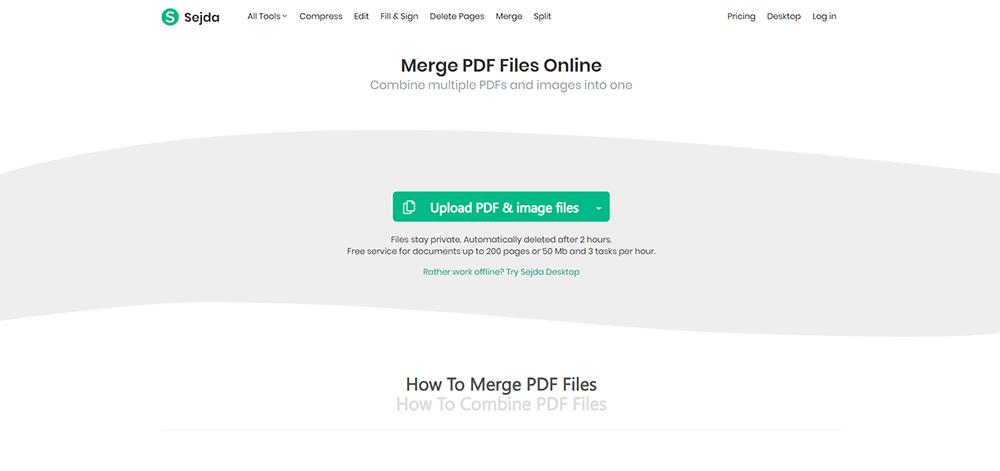 Sejda Merge PDF
