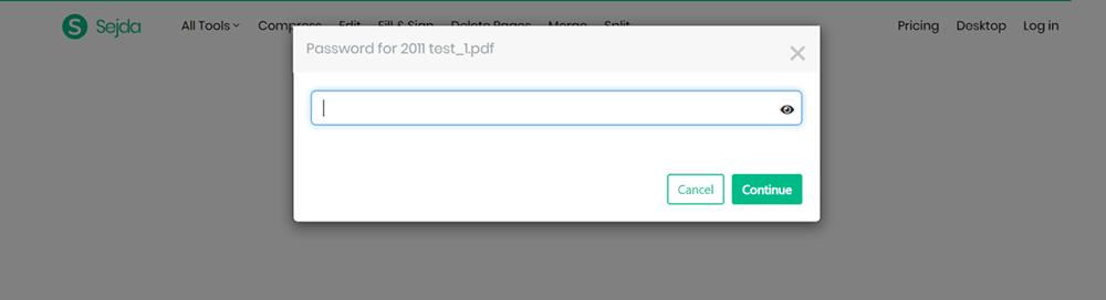 Sejda PDF Unlock PDF Enter Password