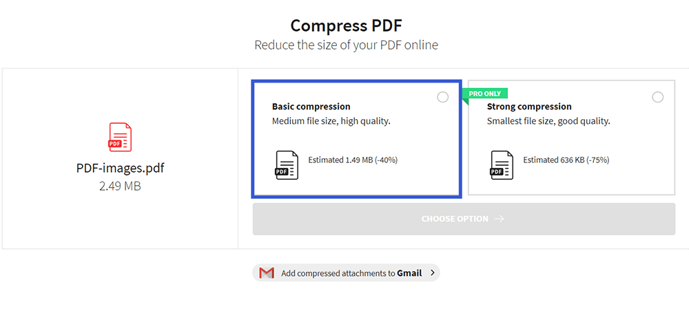 Smallpdf Compress PDF Modes