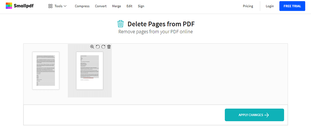 Smallpdf Eliminar Pages de PDF Edit