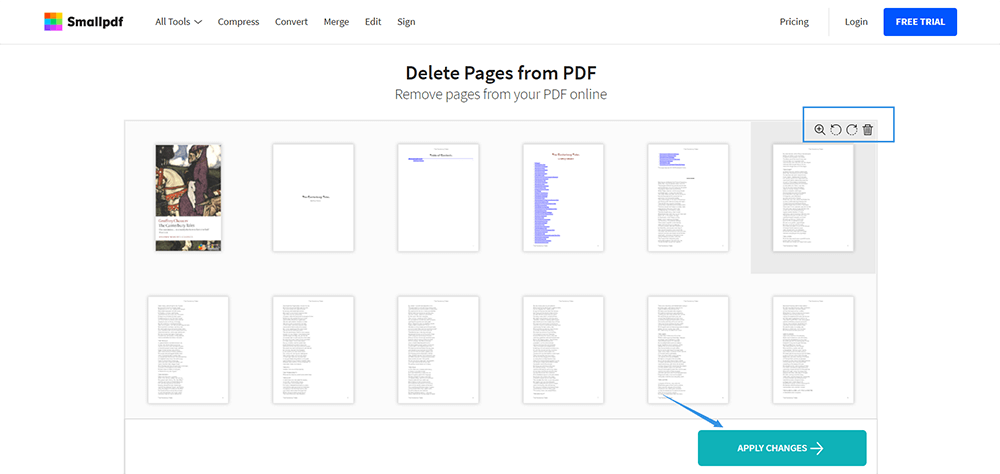 SmallPDF Elimina Pages PDF