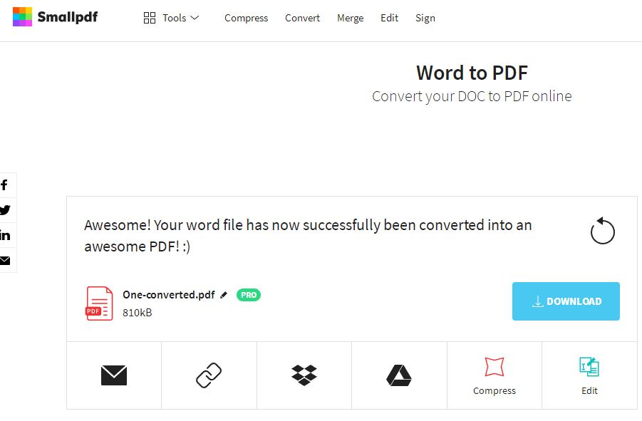 Smallpdf Descarga de DOCX a PDF