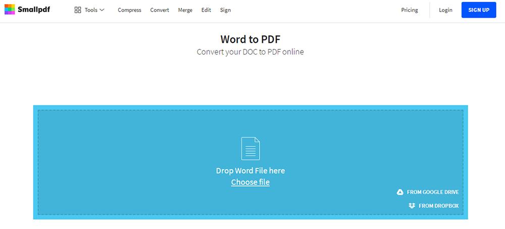 Smallpdf DOCX a PDF