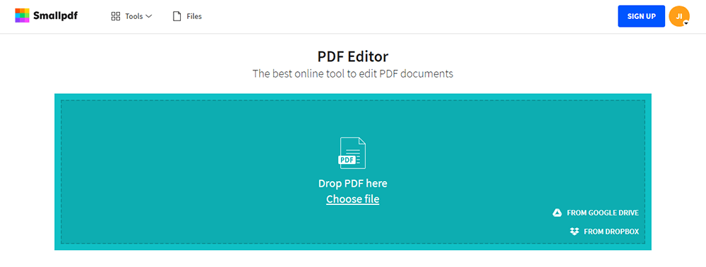 Smallpdf Edit PDF Choose File