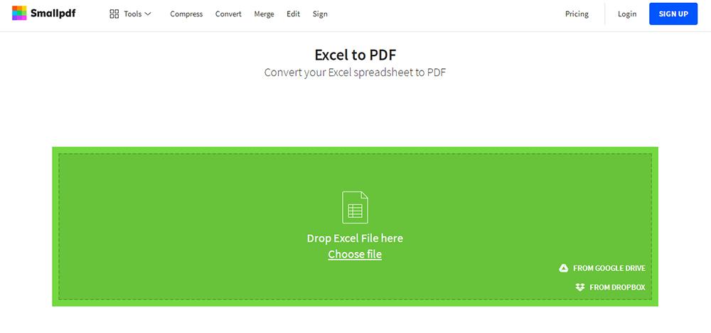 SmallPDF Excel a PDF