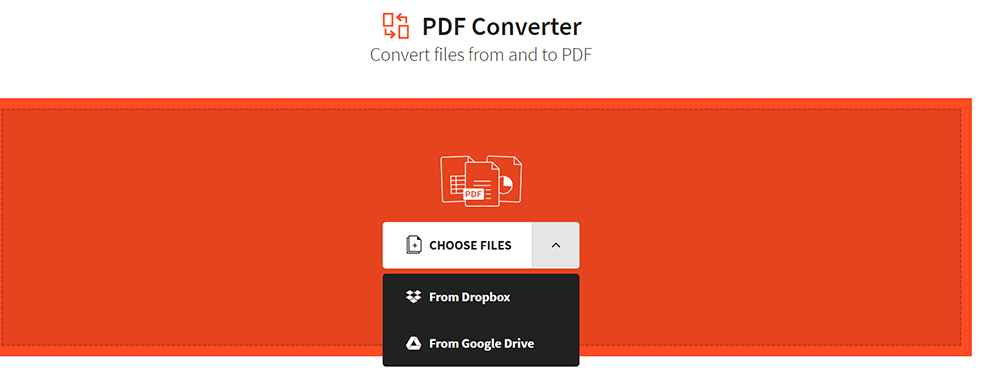 EasePDF PDF Converter Upload Files