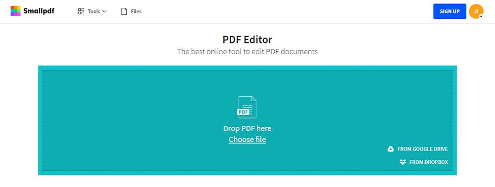 Smallpdf PDF Editor Choose File