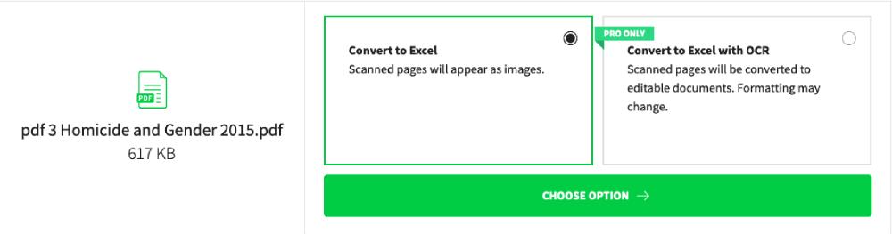 Smallpdf PDF to Excel 옵션