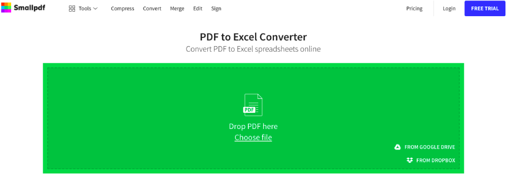 Smallpdf PDF to Excel Converter