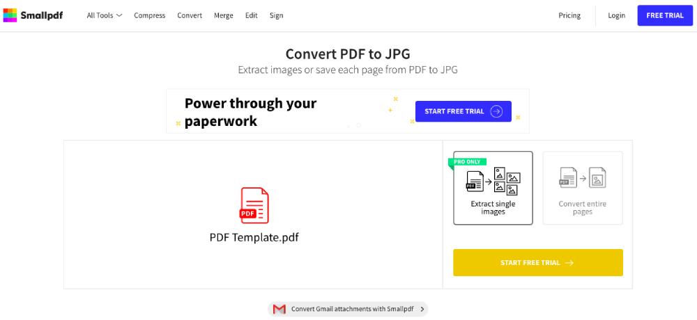 Smallpdf PDF to JPG Converter