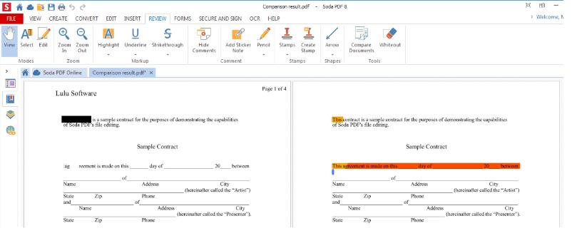 Soda PDF Compare Documents