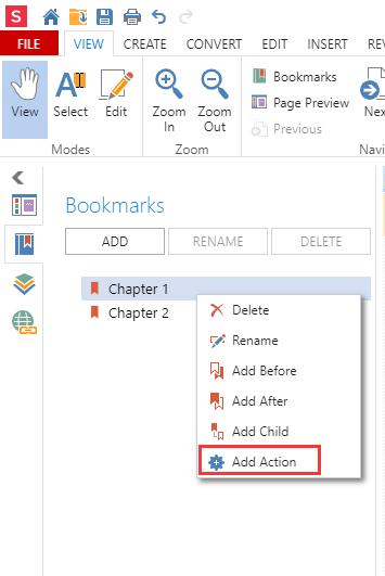 Soda PDF Online Bookmarks Add Action