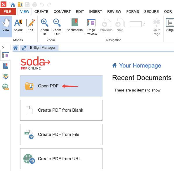 Soda PDF Online PDF öffnen