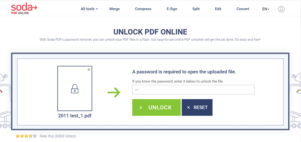 Soda PDF Unlock PDF Enter Password