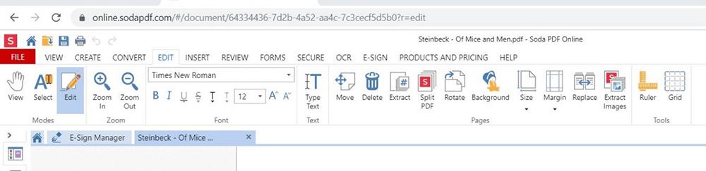 Soda PDF Editing Font