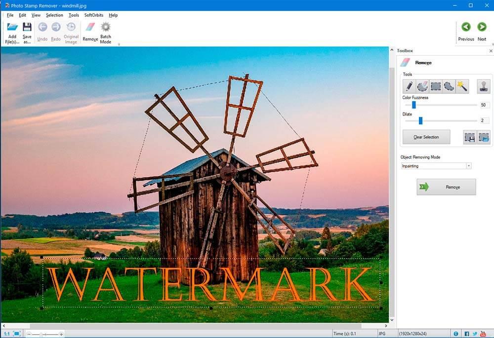 SoftOrbits 사진 스탬프 리무버 선택 도구