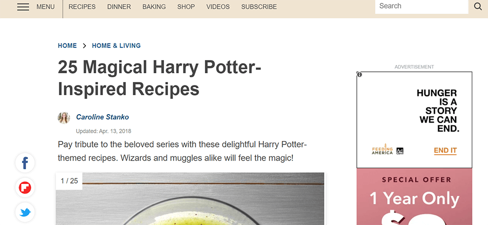 Geschmack von zu Hause Harry Potter Rezepte