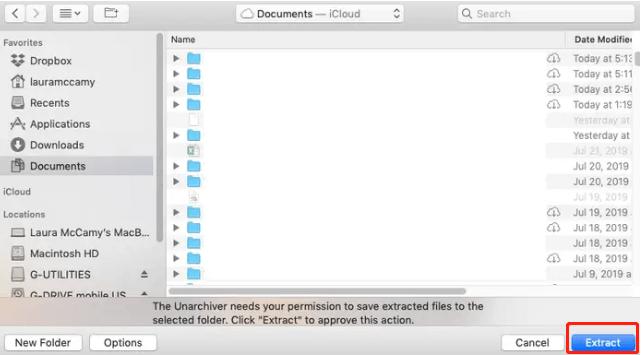 Unarchiver 추출 RAR 파일