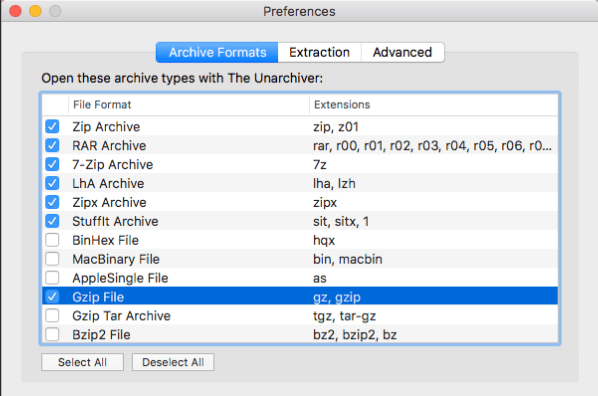 Unarchiver Preferences Archive Formats