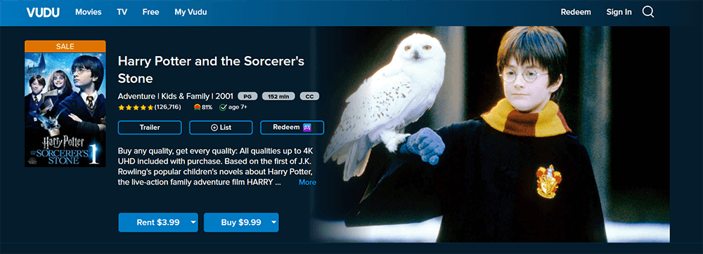 VUDU Harry Potter and the Sorcerer's Stone