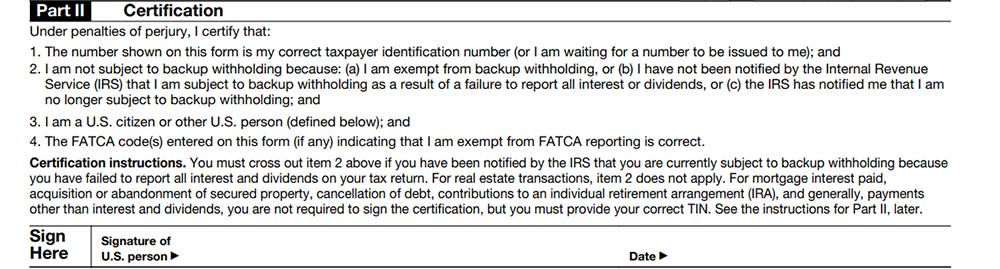 W-9 Form Certification